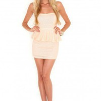 Missguided - Ariane Sequin Peplum Dress In Nude