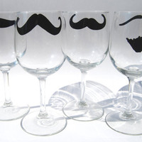 Mustache Wine Glass  - Set of Four - select from eight different styles