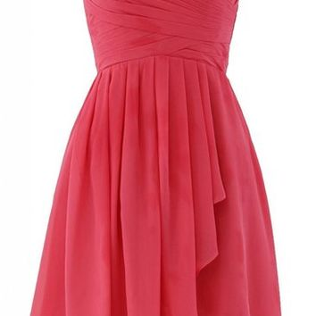 Kamilione Women's Sweetheart Neckline Chiffon Short Bridesmaid Prom Dress