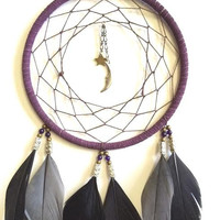 Dream Catcher - Star and Moon - Purple, Black, and Gray - Modern Midnight Dreamcatcher