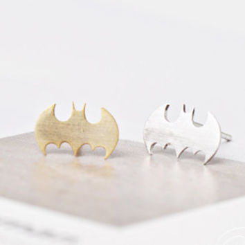 Batman Earrings, Bat Studs, Cute Earrings, Cute Studs, Silver Post Earrings, Korean Fashion, Bat Earrings, Simple Earrings, Girls Gift