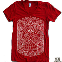 Women's DAY Of The DEAD T-Shirt american apparel S M L XL (17 Colors Options)