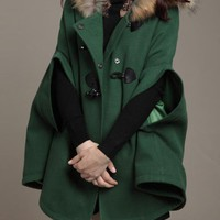 Fur Collars Wool Cape Coat Green$99.00