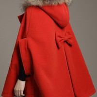 Fur Collars Wool Cape Coat Red$99.00