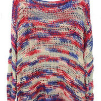 Pink Blue Scoop Neck Space Dye Dipped Hem Jumper Sweater - Sheinside.com