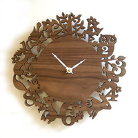 "10"" Modern Wall Clock - It's My Forest - Walnut"