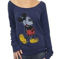 Junk Food Clothing - Women's Tops - All - Mickey Mouse Vintage Off the Shoulder Fleece