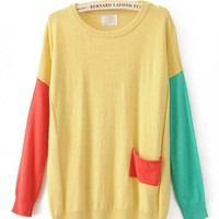 Color Block Round Neck Yellow Sweater$46.00