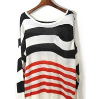 Black Bat Striped Long Sleeve Sweater$41.00