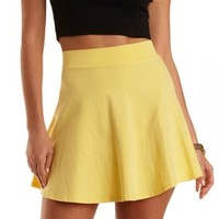 High-Waisted Cotton Skater Skirt by Charlotte Russe - Yellow