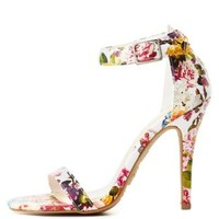 Floral Single Sole Ankle Strap Heels by Charlotte Russe - White Combo