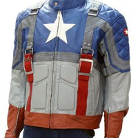 Captain America The First Avenger Original Replica Stylish Leather Jacket: Amazon.co.uk: Clothing