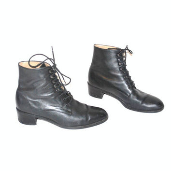 size 7.5 GRUNGE lace up boots / vintage 90s MINIMALIST black leather chunk heel PLATFORM ankle booties