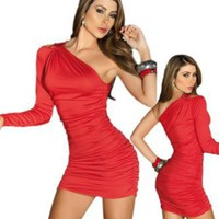Sexy Red One Shoulder Long Sleeve Mini Dress: Amazon.com: Clothing