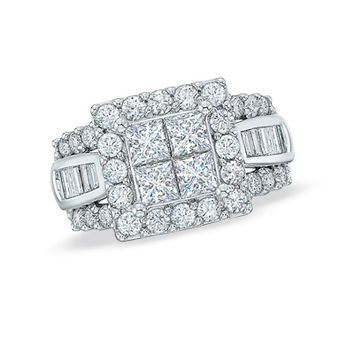 2 CT. T.W. Princess-Cut Quad and Baguette Diamond Engagement Ring in 14K White Gold