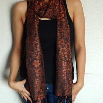 Floral Pashmina Scarf, Indian Scarf, Winter Scarf, Reversible Scarf