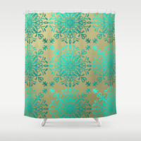 Elegance-Turquoise Teal Shower Curtain by Lisa Argyropoulos