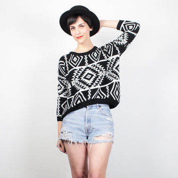 Vintage 80s Sweater 1980s Sweater Black Ivory Beige Southwestern Knit Jumper Crop Sweater Boho New Wave Pullover Cropped Sweater M Medium L