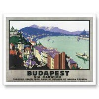 Vintage Budapest Hungary Travel Poster Art Post Cards