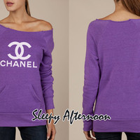 White Chanel - Women Eco Fleece Sweatshirt -  Purple