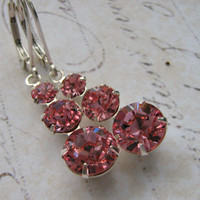 Pink Swarovski Earrings, Graduated Pendant Earrings, Crystal Light Pink Sterling Silver Lever Back Earrings Bridesmaid Earrings