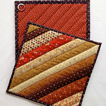 """Quilted Pot Holders / Hot Pads / Trivets / Mug Rug / Candle Mat  – 10"""" x 10"""" Shades of Brown and Tan – Set of 2"""