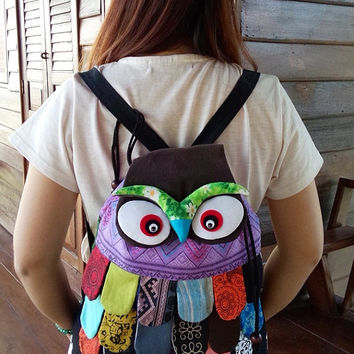 Tribal Bag Backpack, Boho Bag,Cotton Bag, Aztec,School Bag,Thai backpack, Rucksack, Back to school