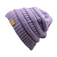 Trendy Warm Chunky Soft Stretch Cable Knit Slouchy Beanie Skully HAT20A,One Size,Violet