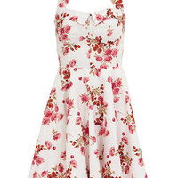 Floral halter neck prom dress