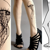 new: S/M sexy Jellyfish tattoo tights / stockings/ full length / pantyhose / nylons ultra pale