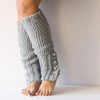 Legwarmers in Grey with buttons