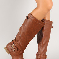 Thin Straps Almond Toe Knee High Boot