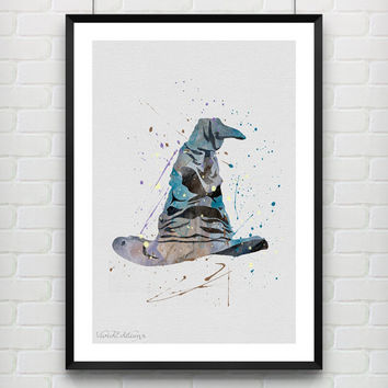 Harry Potter Poster, Sorting Hat Watercolor Print, Watercolor Poster, Kids Room Art Print, Wall Art, Not Framed, Buy 2 Get 1 Free! [No. 15]