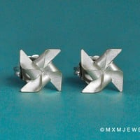 Tiny Pinwheel (windmill) Earrings 0.30 inches
