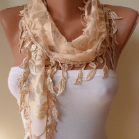 Lace Scarf - Tan Scarf with Lace Trim Edge Shaped Leaves