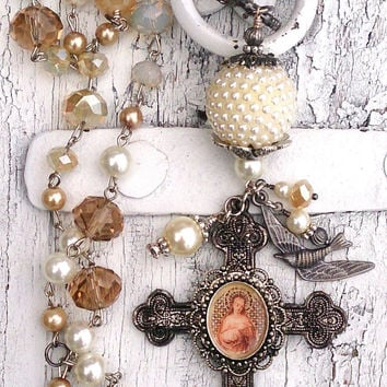 Patina Cross Pearl Assemblage Necklace One Of A Kind Religious Christian Saint Jewelry