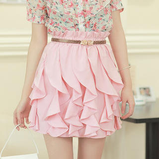 YESSTYLE: JK2- Elastic-Waist Ruffle-Trim Skirt - Free International Shipping on orders over $150