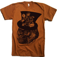 Mens Steampunk Gorilla T Shirt - American Apparel - XS S M L XL and XXL (28 Color Options)