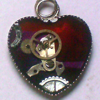 Red & Purple Steampunk Heart Resin Pendant
