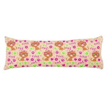 Hipster Cool Cat Lovers Pattern Body Pillow