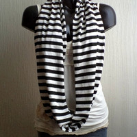 Striped Infinity scarf, in black and white jersey knit, light and cozy.READY To SHIp.