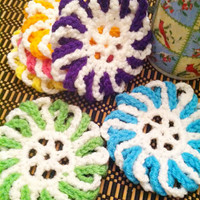 Spring Candy Mix Color Coasters Set of 6 Pink Green Blue Yellow Orange Purple and White