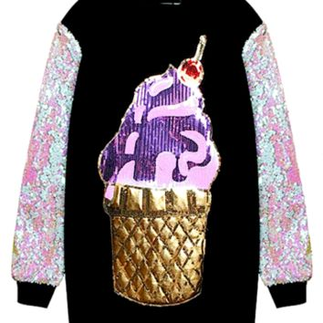Ice Cream Cone Long Sleeve Sequined Pullover Sweater - Black