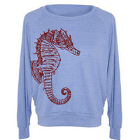 Womens SEAHORSE Tri-Blend Raglan Pullover - American Apparel - S M and L (8 Color Options)