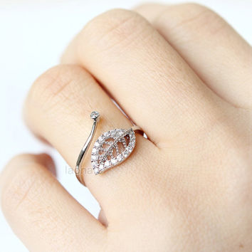 CZ Leaf ring / adjustable ring, choose your color, gold and silver