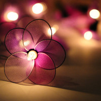 20 flower handmade in light purple shade color string light patio decoration wedding bedroom living room party lantern