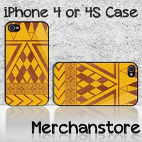 Unique Wood Orange Custom iPhone 4 or 4S Case Cover