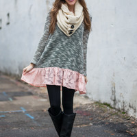 Everything To Me Tunic, Gray/Peach