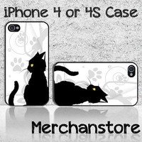 New Unique Black Cat Custom iPhone 4 or 4S Case Cover