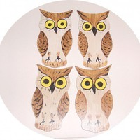 Owl Coasters - Wall Art - Set of 4 - Hand Painted - Brown